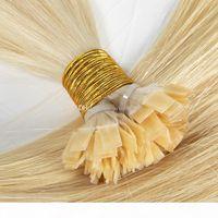 자연 색 금발 브라질 유럽 스트레이트 케라틴 퓨전 큐티클은 평평한 팁 레미 버진 사전 결합 된 인간의 머리카락 확장을 정렬했습니다.