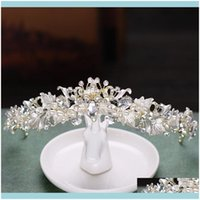 Barrettes Jewelry Jewelrybaroque Crystal Pearl Bridal Tiaras Diana Crowns Rhinestone Flower Pageant Diadem Bride Headband Wedding Hair Aesso