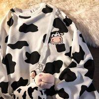 Women's Hoodies & Sweatshirts 2021 Cow Embroidered Thin Hoodie Loose Sweatshirt Anime Kawaii Clothes Women Printing
