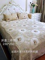 Imposta Bianco Crochet Bed Diffusione lussuoso set di biancheria da letto in cotone 3pcs copriletto federa super king 250x280cm Set Copriletti copriletti