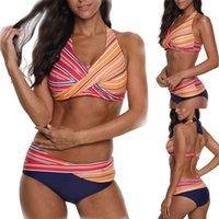 여성 수영복 섹시한 두 조각 비키니 세트 2021 수영복 여성들이 줄무늬 인쇄 Biquini 수영복 브라질 Bikinis S-2XL