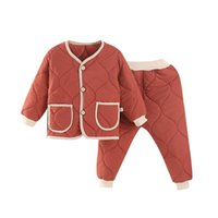 Clothing Sets Children 2PCS Autumn Winter Suits Thickened Boys Cotton Girls Two-piece Outfit Kids Padded Jacket Fall Clothes