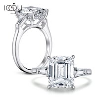 IOGOU Luxury 4 CT 925 Sterling Silver Rings For Women Three ...
