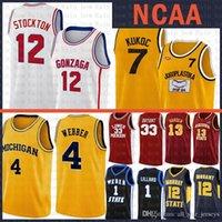 미시간 울버린 크리스 4 웨버 NCAA Gonzaga Bulldogs 고등학교 존 12 Stockton Basketball Jersey Jugoplastika Pop Moive Toni 7 Kukoc