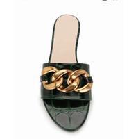 Yeni Yaz Zincir Süslenmiş Slayt Kadın Tasarımcı Sandalet Timsah Deri Flats Terlik Çevirme Seksi Ayakkabı 6 Renkler 270