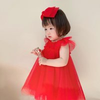 Pageant Gown Princess Wedding Dress For Kids Girls 2021 Summer Children Baby Girl Sleeveless red formal Clothes 6months-5Y