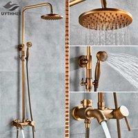 "Antique Bronze Banheiro Conjunto de Chuveiro Faucet Bath Chuveiro Misturador Torneira 8 ""Chuveiro Head Bath Chuveiro Conjunto de Chuveiro Banheira Torneira Montada T200612"