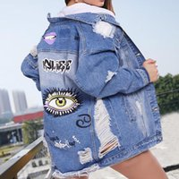 Women's Jackets Jeans Coat Loose Korean-Style 2021 Spring And Autumn Mid-Length Casual Style Hole Denim Clothing For Women Fashion