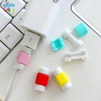 휴대 전화를위한 10000pcs / lot 귀여운 케이블 이어폰 보호기 USB 다채로운 데이터 충전기 이어폰 케이블 커버 프로토 터