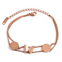 Gioio Titanium acciaio 18K oro rosa moda estetica doppia catena catena ladies pietra preziosa braccialetto gioielli di lusso boho