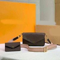 Tres en un bolso de diseño de lujo de cuero para damas de cuero Hombro Messenger Bolsos de Moda Maquillaje Top Bolsas de Tarjetas Pequeñas M80091