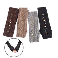 Winter Women Gloves Hand Warmer Arm Crochet Knitting Faux Wool Mittens Long Half Finger Fingerless Gloves Guantes Christmas