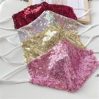 Мода Bling 3D Моющаяся многоразовая маска PM2.5 Shield Shield Sun Gold Leving Sequins Блестящие лица Маски для лица для PM2.5 FWF8993