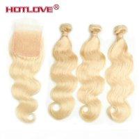HotLove Brasiliano Remy Human Hair Hear Color Color Blonde Capelli 3 Bundles con 4 * 4 Chiusura del pizzo Parte GRATUITA con i capelli del bambino 613 Onda del corpo
