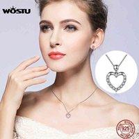 Wostu 2019 Marque de luxe 925 Sterling Sterling Silver Coeur Pendentif Colliers pour femmes avec un cadeau de bijoux AAA Zircon pour l'amant CQN025