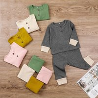 Baby 2 Botões Rib To Topo + Calças Outfits Fall 2020 Crianças Boutique Roupas 0-2T Bebê Meninos Meninas Color Sólido Casual 2 Pc Set 208 Y2