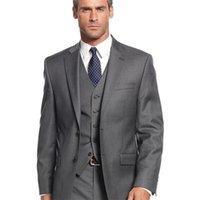 Серые повседневные мужчины свадебные смокинги формальные пользовательские онлайн-три частей осень за пределами бизнес офис костюмы вечеринка (куртка + брюки + жилет) lj201104