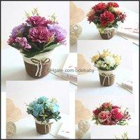 Fiesta festiva decorativa suministros de flores de jardinerda Guirnaldas de flores de 9cm Clavel de seda artificial Ratán Flor Florero Canasta Madre Lila Cr