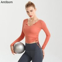 Yoga Outfits Antibom Shirt Women Long Sleeves Gym Top Tie Waist Design Polyester Soft Stretch Skinny Material Solid Color Sportswear