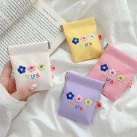 PU Flower Coin Purse Women Men Mini Wallet headphone bag Small Money Pouch Business Credit Card Holder