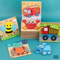 Baby children wooden traffic cartoon animal puzzle toys small gift 03-4-6 years old