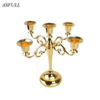 Asfull Fashion European High-End Silber / Gold / Blackmetal Kerzenhalter 5 Arme für Standzeit Hochzeit Kerzenständer Candelabra Hochzeiten