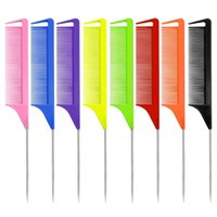 Candy Color Anti-static Rat tail Comb Fine-tooth Metal Pin Hair Styling tool
