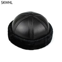 Beanies Real Cowhide Leather Fashion Autumn And Winter Hats For Women Solid Design Ladies Thin Hat Skullies Men Unisex