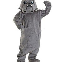 2019 factory sale new Cool Bulldog Mascot costume Gray School Animal Team Cheerleading Complete Outfit Adult Size