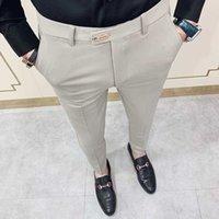 Casual Slim Fit Mens Vestido Pantalones Streetwear Traje Pantalones Hombres 34 Gentlemen de alta calidad Pantalones de oficina Hombres Todos Match Toble Longitud 201119