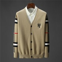 Мода V-образным вырезом с длинными рукавами вязаные женские свитеры кардиган Свободная повседневная куртка Корейский бренд дизайнер буквы вышивкой печати свитер сладкий ветер пальто