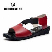 Dongnanfeng frauen weibliche damen mutter schuhe sandalen kuh echtes leder slip am sommer cool strand outdoor größe 35 40 zdl 216 boot sho p9wm #