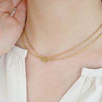 Vintage Twist Kette Halskette für Frauen Einfache Gold Farbe Knoten Multilayer Halskette Punk Hip Hop Schmuck Mode Zubehör