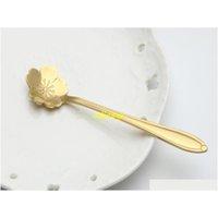 100 pz / lotto 12,5 * 2.5 cm colore oro fiore cucchiaio in acciaio inox in acciaio inox fiori di ciliegio Sakura Rosa Tè di misurazione Jullz Warmslove