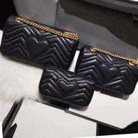 2021 숙녀 럭셔리 디자이너 Marmont 숙녀 가방 어깨 가방 핸드백 클래식 가죽 심장 모양의 골드 체인 토트 백 지갑