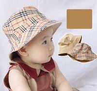 Sommer Baby Kinder Plaid Hüte Zwei Tragenmütze Kinder Fischer Big BRIM Gitter Hut Kleinkinder Beach Visier A6149