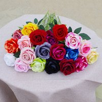 51 cm de largo seda de seda flor rosa roja rosa blanco rosas de simulación para bricolaje buquets de boda centros de centros de ducha nupcial fiesta de la casa decoración