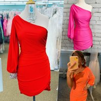 Music Festival Party Dress 2021 Lady Sheath Cocktail Hoco Mini Gown Long Sleeve One Shoulder Crepe Satin Christmas Graduation Homecoming Bright Red Fuchsia Orange
