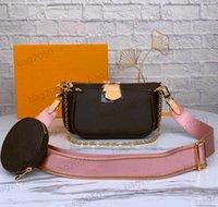 Com Código Data Mulheres Handbags Multi Pochette Accessoires Bolsas De Designer Bolsa De Couro Genuíno Bolsa Favorito 3 Pcs Pochettes Acessórios Crossbody Ombro Bolsas