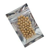 100 pçs / lote 10 tamanhos limpar / prata folha de alumínio ziplock sacos de embalagem com furo hang selo auto armazenamento de alimentos zíper embalagem bolsa