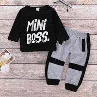 Clothing Sets 1-6T Kids Baby Fashion Short-sleeved Suit Boy MiNiBoss Letter Printed Shirt+sports Long Cotton Pants Boutique