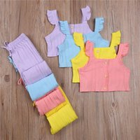 Clothing Sets 2Pcs Clothes Set Children Kid Girl Flying Sleeve Ribbed Knit Vest Solid Color Tops Elastic Waistband Trousers Summer
