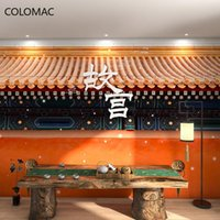 Wallpapers Colomac Custom Chinese Style Forbidden City Eaves Wallpaper Pot Restaurant Decoration Mural Wall Decor Drop Shopping
