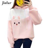 Jielur hipster kawaii coelho desenhos animados hoodie kpop japonês bateu cor cor-de-rosa moletom harajuku lã quente casaco de inverno bonito mulheres y200917