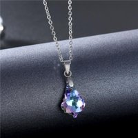 Pendant Necklaces European And American Fashion Purple Crystal Female Ins Trend Personality Stainless Steel Simple Necklace