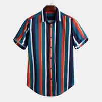 Camicie casual da uomo 2021 Camicia T-shirt Tees Manica corta a righe Stand Collare Moda Hawaiian Tops Summer Streetwear M-3XL Drop