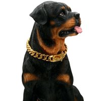 Gold pet Necklace Large Dog Leash Customized Titanium Stainless Steel Chain Pitpull Bulldog Strong Metal Collar 15mm width