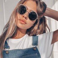 선글라스 2021 럭셔리 비즈 라운드 여성 패션 합금 프레임 브랜드 진주 디자이너 태양 안경 여성 블랙 그늘 UV400