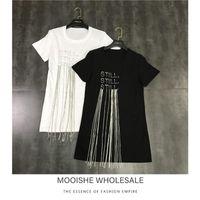 Pulls pour femmes MOOSHE Summer Femmes T-shirt T-shirt à manches courtes Chaîne de Tassels de diamant noir Blanc Tee-shirt
