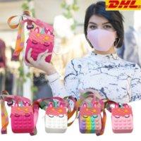 US-Lager, neueste Zappeln Spielzeug Frauen Mädchen Tasche Push Blase Rainbow Anti Stress Dekompression Spielzeug Unicorn Umhängetaschen DHL